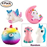 WATINC 4 Pcs Unicorn squishy Sweet Scented Vent Charms Slow Rising squishies Kawaii Kid Toy , Lovely Stress Relief Toy, Animals Gift Fun Large(Red unicorn set)