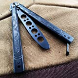 Flying Dragon Butterfly Training Knife, All Stainless Steel Balisong Trainer, No Offensive Blade for CS GO, Beginner, Children, 100% Safety (Black)