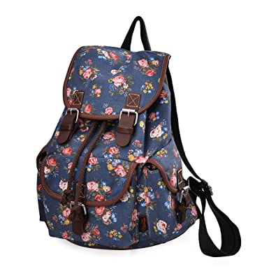 DGY Girl's Canvas Leather Trim School Backpack Cute Backpack Print Rucksack 163 Blue