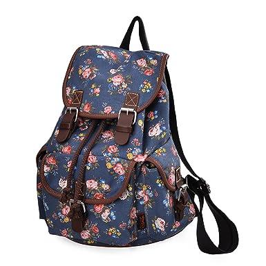 DGY Girl's Canvas Leather Trim School Backpack Cute Backpack Print Rucksack 163 Blue
