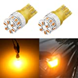 Alla Lighting Super Bright T10 194 LED Bulb High Power 3014 18-SMD 12V LED 194 168 2825 175 W5W Bulb Wedge for License Plate Interior Map Dome Trunk Cargo Side Marker Light, Amber Yellow (Set of 2) (Color: Amber Yellow)