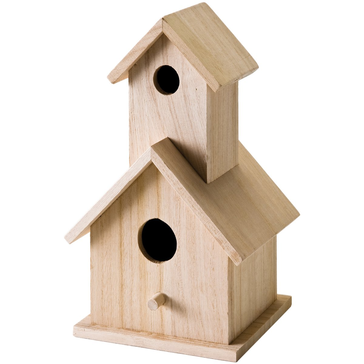 Plaid Wood Surface Crafting Birdhouse, 12741 Story