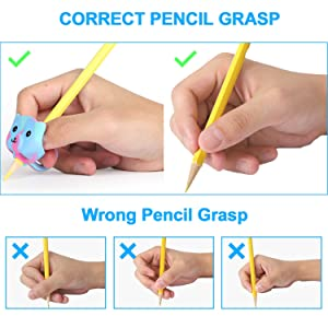 JARLINK 4 Pack Pencil Grips for Kids Handwriting, Ergonomic Writing Training Aid Grip, Correction Finger Grip for Kids, Adults (Color: multicolored)