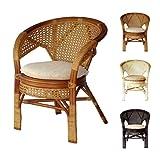 Pelangi Handmade Rattan Dining Wicker Chair W/cushion Colonial (Light Brown) (Color: Brown)