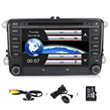 HD 7 inch Car Stereo GPS DVD Navi 2 Din for VW Jetta Passat Golf Beetle Caddy Tiguan Scirocco Octavia Altea Touran Amarok Car Radio in-Dash DVD (Color: Black)