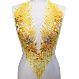 Lace Embroidered Pearl Rhinestone Patches Applique for DIY Fabric Trim Neckline Wedding Bridal Prom Dress Back Decoration (Yellow, V-Neck) (Color: Yellow, Tamaño: V-neck)