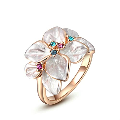 Yoursfs-18K-Rose-Gold-Plated-White-Enamel-Flower-Design-with-Colorful-Crystal-Cocktail-Ring