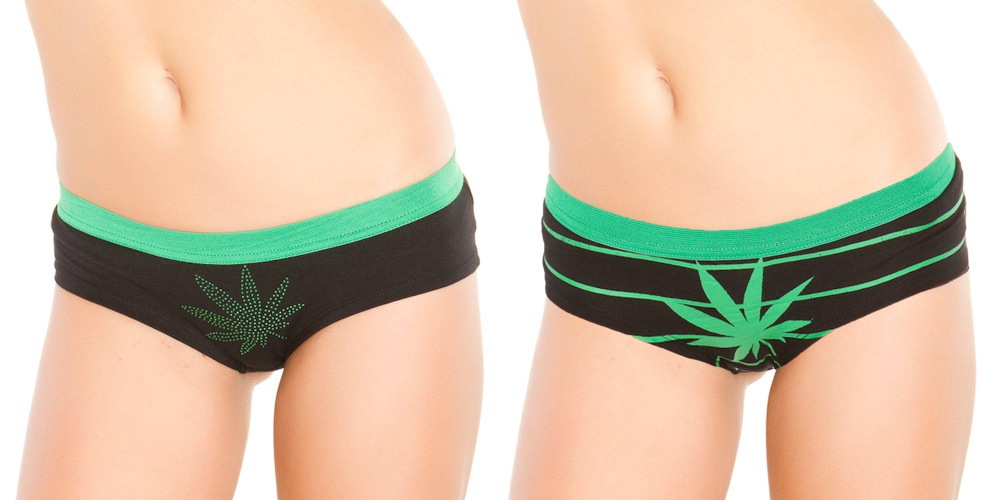 Black Fuchsia Women's 2 Pack High On Life Pot Leaf Panties