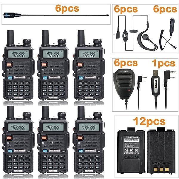 BAOFENG RADIO UV-5R RADIO BIDIRECCIONAL DE DOBLE BANDA (PAQUETE DE 6) 6 TIDRADIO-771 Antenas y micrófonos de altavoz 12 Baterías 1800mah 1 Cable de programación Radio de jamón Walkie Talkie Baofeng