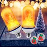 Led Flickering Flame Effect Light Bulb 2 Pack E26, Super 4 Modes with Upside Down Effect, Professional Flame Led Light Bulbs for Christmas Home Hotel Bar Decorations (2 Pack) (Color: 2 Pack)