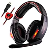 GW Sades Newly SA902 7.1 Channel Virtual USB Surround Stereo Wired Over Ear PC Gaming Headset Headphones with Mic Revolution Volume Control Noise Canceling LED Light (Black/Red) (Color: SA902)