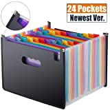 Expanding File Folder 24 Pockets, Multi-Color Accordion A4 Document Organizer with Expandable Wallet Stand - Works on A4 Size and Letter Size (Color: 24pockets-accordion-folder)