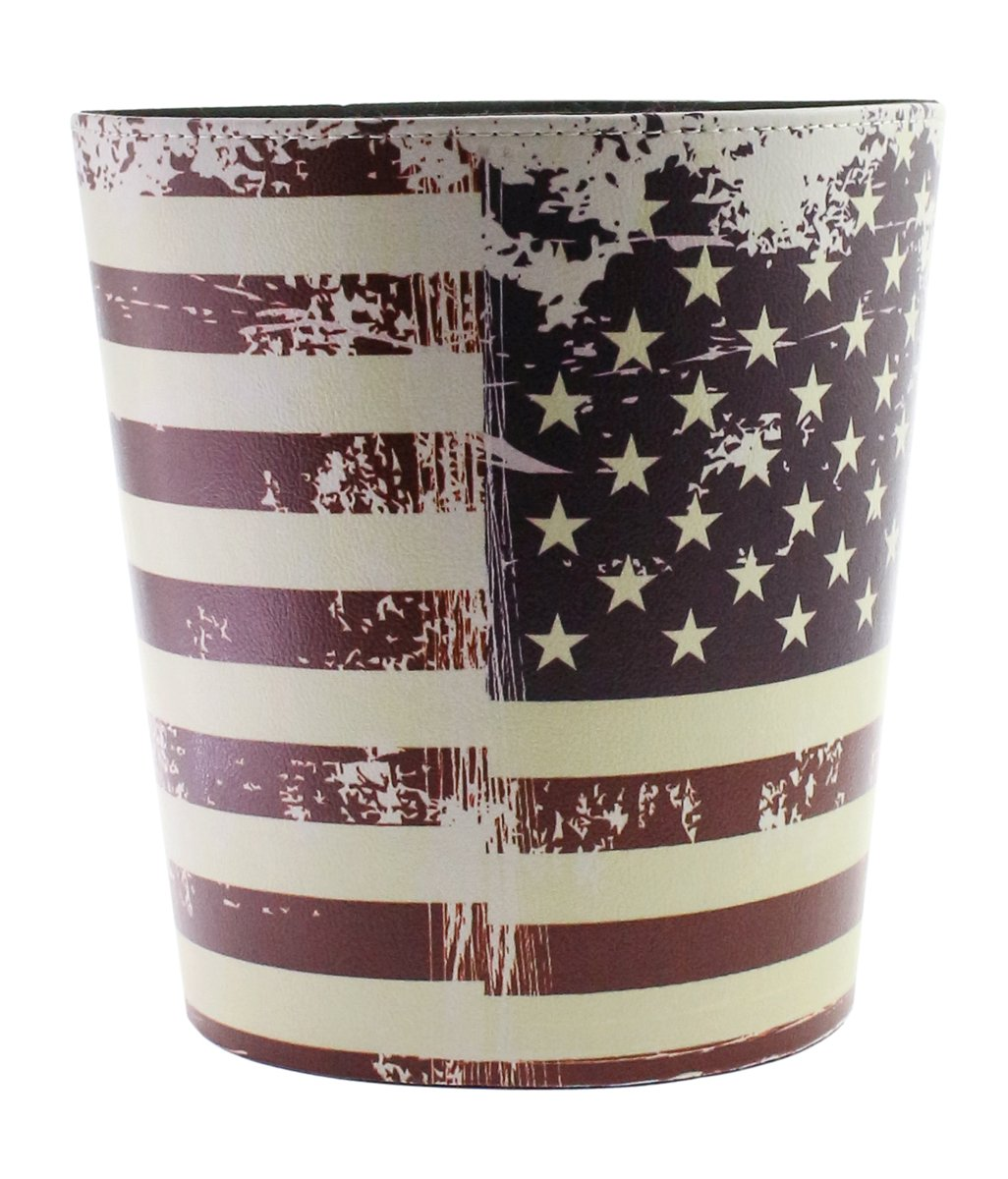 JustNile Country Themed Vintage PU Leather Trash Can without Lid - American USA Flag 0