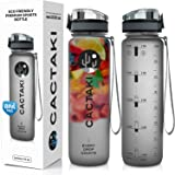 Cactaki Water Bottle with Time Marker, Large BPA Free Water Bottle, Non-Toxic, 1 Liter 32 Oz, for Fitness and Outdoor Enthusiasts, Leakproof, Durable (Color: Grey)