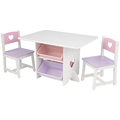 Kidkraft Heart Table and Chair Set with Pastel Bins