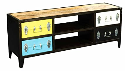 HOMELEGANCE 6491 Iron TV Cabinet, Multicolor