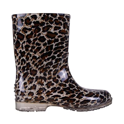 Children Kids Fashion Leopard Print Pattern Wellington Boots