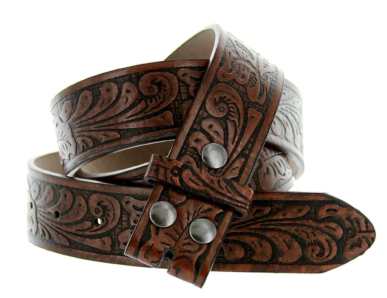 western floral embossed bonded leather belt 1 1 2