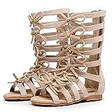 Children Girls Roman Zipper Bowknot Knee-High Gladiator Sandals Summer Boots (2M US Little Kid, Beige) (Color: Beige, Tamaño: 2M US Little Kid)