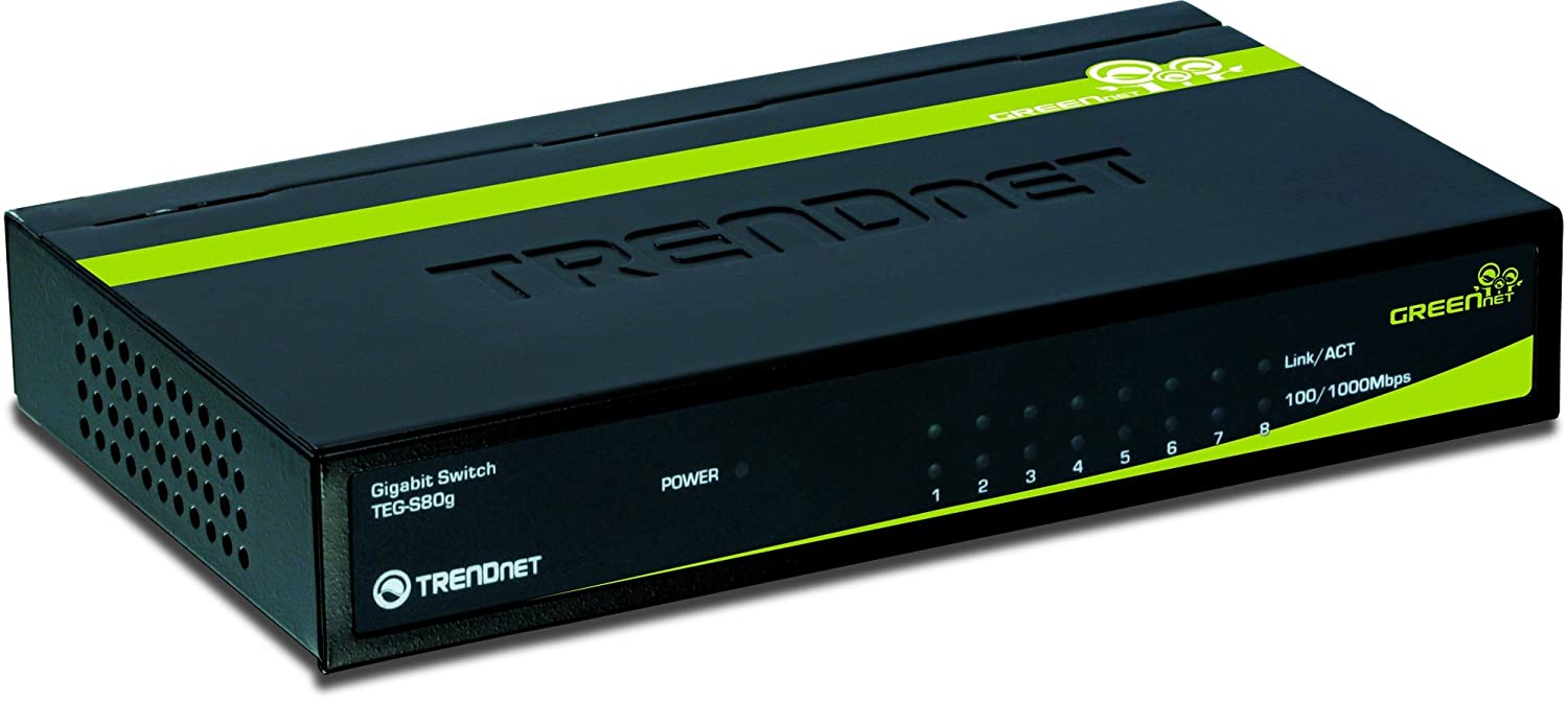 TRENDnet 8-Port Unmanaged Gigabit GREENnet Standard Switch (8 x 10/100/1000Mbps) $19.99