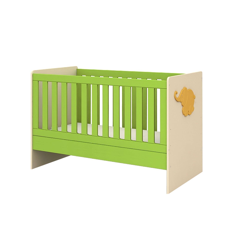 Babybett Bettchen Sofabett Kinderbett AFRICA 75x143x93cm grün beige Lm 70/140