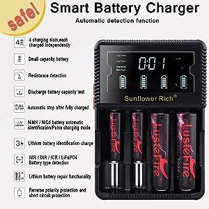 LCD DisplaySpeedyUniversal18650BatteryChargerwithCarAdapter SmartChargerforRechargeableBatteriesNi-MHNi-CdAAAAA AAAAC,Li-ion266502265018490176701750018350 16340(RCR123) 14500