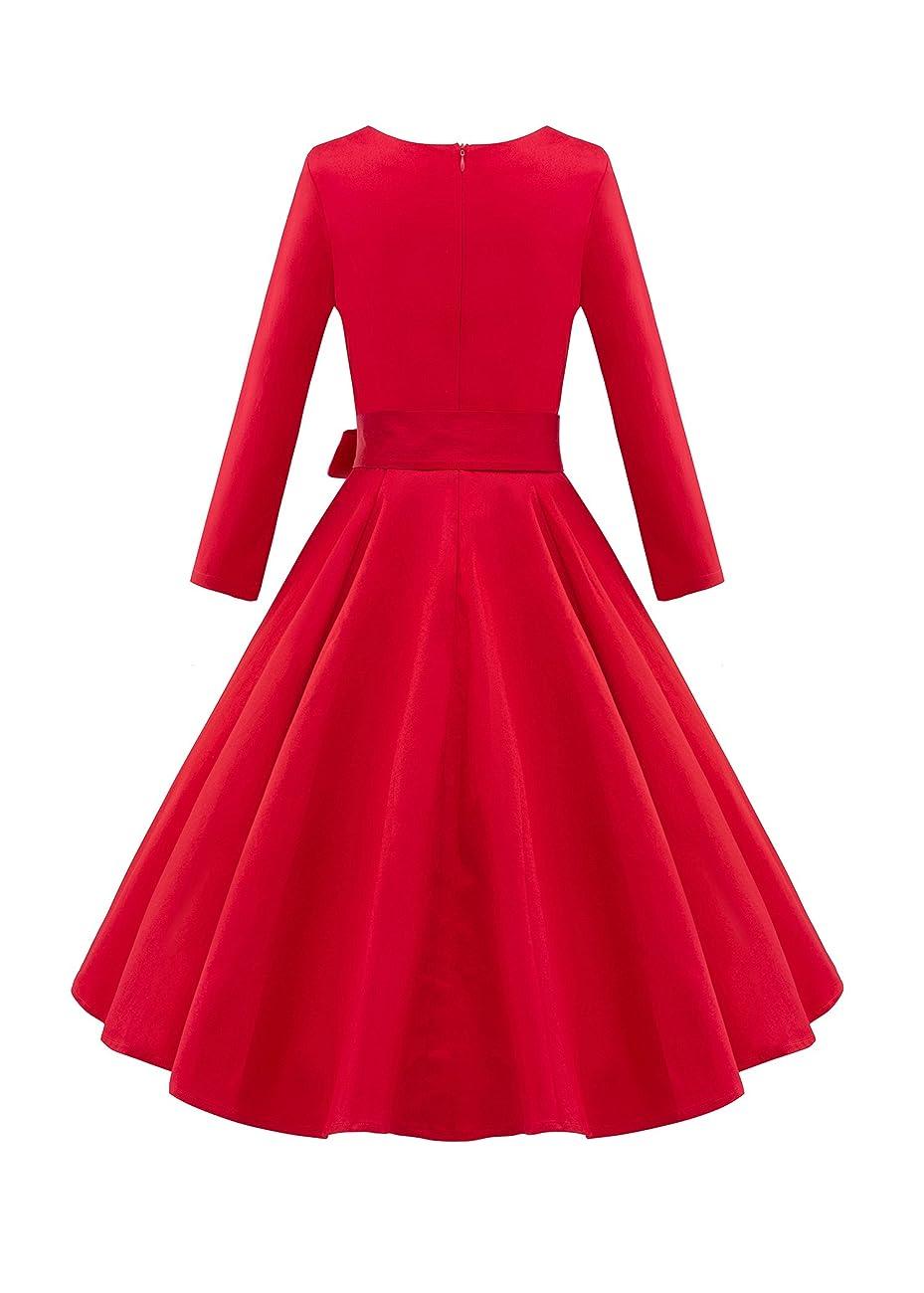 LUOUSE Audrey Hepburn 3/4 Sleeve 1950s Vintage Rockabilly Dress 2