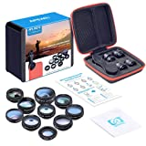 Apexel 10 in 1 Cell Phone Camera Lens Kit Wide Angle Lens & Macro Lens+Fisheye Lens+Telephoto Lens+CPL/Flow/Radial/Star Filter+Kaleidoscope 3/6 Lens for iPhone Samsung Sony and Most of Smartphone (Color: Black)