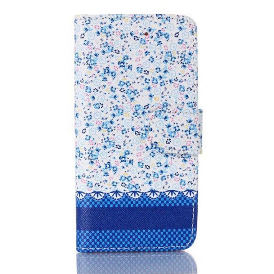 Floral Jacquard Stand Wallet Leather Cover Case For iPhone 5 5G 5S (Blue)