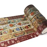 Piokio 6 Rolls Vintage Masking Washi Tape Set for Scrapbooking, Craft Projects and Gift Wrapping (Color: Christmas C)