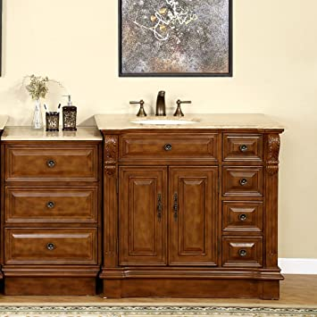 Silkroad Exclusive Travertine Stone Top Single Left Sink Bathroom Vanity with Cabinet, 58-Inch