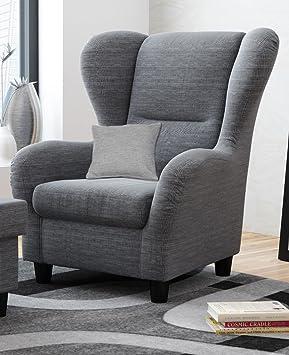 Sessel, Ohrensessel, grau-schwarz, Strukturstoff, Zierkissen, B/H/T 90/98/76 cm