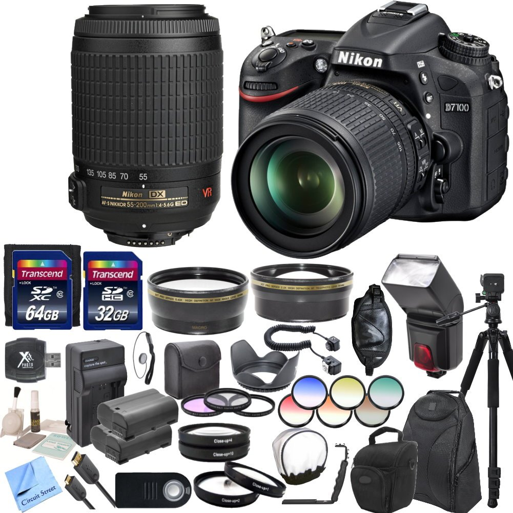 Nikon D7100 24.1 MP DX-Format CMOS Digital SLR With Nikon 18-105mm f/3.5-5.6 AF-S DX VR ED Nikkor Lens & Nikon 55-200mm f/4-5.6G ED IF AF-S DX VR Nikkor Zoom Lens & CS Professional Package: Includes High Speed 64GB SDXC Memory Card ..