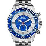 Brandt & Hoffman Men's Pythagoras chronograph, Swiss Ronda Movement, Sapphire crystal, Superluminova, multi-link bracelet