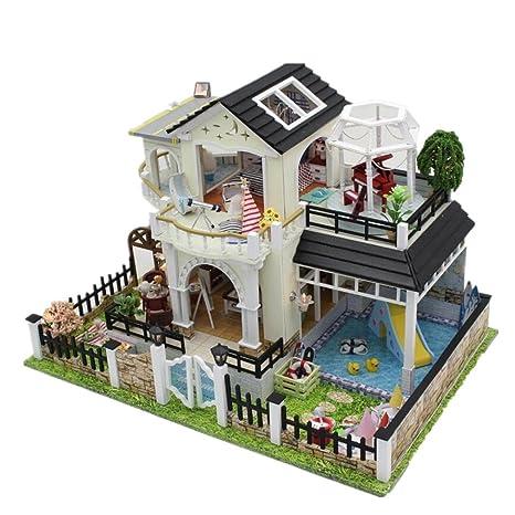 Maison De PoupéesVilla Doll House Mini maison meubles Kit décoration maison LED Handcraft poupées en bois salle cadeaux