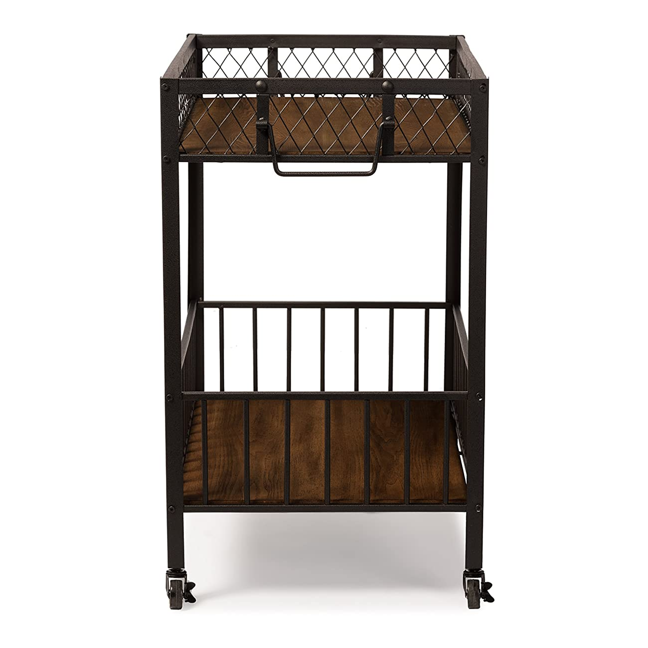 Baxton Studio Bentley Antiqued Vintage Industrial Metal & Wood Wheeled Kitchen Serving Cart 2