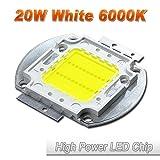 Hontiey High Power LED Chip 20W Pure White Light 6000K-6500K Bulbs 20 Watt Beads DIY Spotlights Floodlight COB Integration Lamp SMD (Color: Gold, Tamaño: 1Pcs 20 Watts)