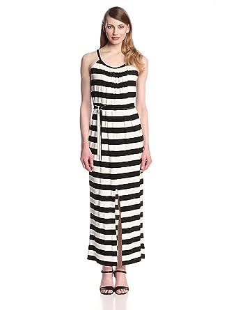 KAMALIKULTURE Women's Sleeveless Maxi Dress with Belt, Black/Off-White, X-Small