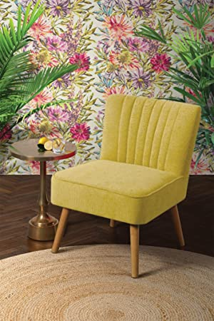MY-Furniture LOLA Gepolsterter Retro Sessel, Austern-Design, Senf-farben