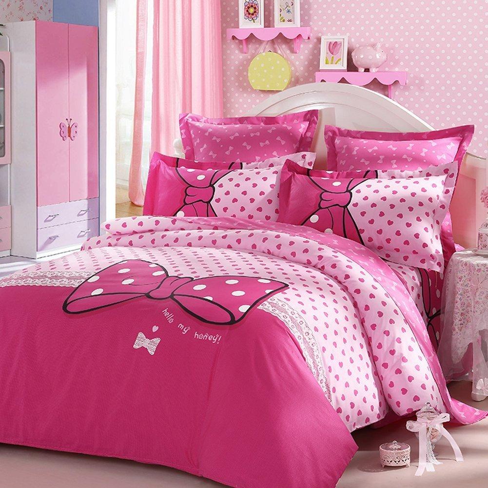 LOVO Luxury Dream Bowknot 100% Cotton 300TC Bedding Sheet Set Duvet Cover 3pcs With 1pc Pillowcase Pink FULL