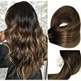 Clip In Human Hair Extensions Thicken Double Weft 9A Brazilian Hair 120g 7pcs Natural Black to Chestnut Brown Highlight Black Full Head Silky Straight 100% Human Hair Clip In Extensions 16 Inch (Color: #(1BT6)P1B, Tamaño: 16 Inch)