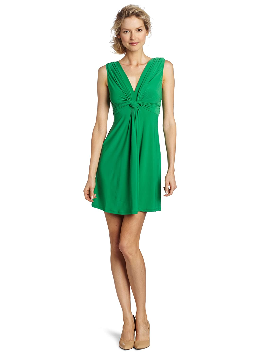 Wrapper Women's V-Neck Dress With Gathered Knot, Kelly Green, Medium/8