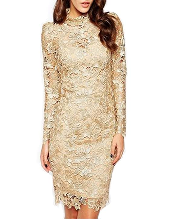 SheIn® Women's Long Sleeve Crochet Lace Champagne Dress