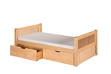 Camaflexi Mission Style Solid Wood Platform Bed with Drawers, Twin, Natural