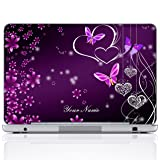 Meffort Inc Personalized Laptop Notebook Notebook Skin Sticker Cover Art Decal, Customize Your Name (14 Inch, Purple Hearts Butterflies) (Color: Purple Hearts Butterflies, Tamaño: 14 Inch)