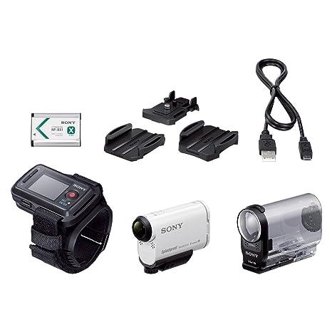 Sony HDRAS200VR.CEN Caméra sportive avec GPS intégré livrée avec montre de pilotage Full HD 120p, Wifi/NFC, 50Mb/s, ralentis HD 240i/s Blanc