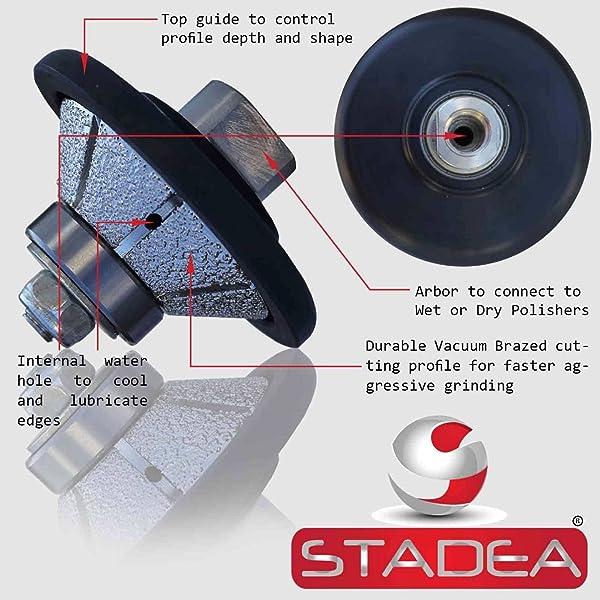 STADEA Diamond Profile Wheel / Profile Grinding Wheel 45 degree / Bevel 15 MM 9/16 high for Grinder Polisher Tile Granite marble Concrete Shaping/Diamond Profiling (Color: Arbor 5/8 11, Tamaño: 15MM - 9/16)