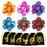 DND Dice, 42 Pieces Dungeons and Dragons Dice with Gold Patten Bags for Dungeon and Dragons MTG RPG DND D20 D12 D10 D8 D4