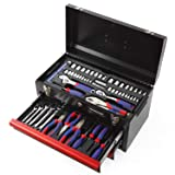 WORKPRO W009031A 76-Piece Mechanic Tool Kit with Heavy  Duty  Metal Box, Chrome Vanadium Steel Daily use Basic Tool Set (Color: Red&Black, Tamaño: 76PC Tools Kit)