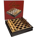Adrienne Chess Inlaid Burl and Black Wood Board Game with Weighted Wooden Pieces and Tray – Extra Large 19 Inch Set
